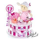 MomsStory - Windeltorte Mädchen | Schaf Spieluhr | Geschenk zur Geburt, Taufe, Babyshower | 1 Stöckig (Rosa/Pink/Weiß)