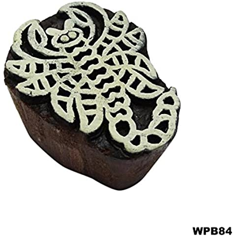 Indio Textil Bloque De Impresión Arte Tradicional En La Tela Impresión De Madera Scorpio Diseño Mano De Madera Tallada Sello De