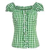 Almsach Damen Trachten-Mode Trachtenbluse Carmen traditionell geschnitten Gr.32-50 in verschiedenen Farben, Größe:40, Farbe:Hellgrün