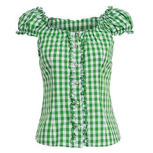 Almsach Damen Trachten-Mode Trachtenbluse Carmen traditionell geschnitten Gr.32-50, Größe:40, Farbe:Hellgrün