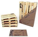 Design Studio Labyrinth Barcelona - Pallet-It 4 Posavasos Europallet + 1 Palet Salvamanteles - Juego de 4 miniaturas de madera + Palet Salvamanteles para olla caliente. Apto para bares, hogar y oficina.