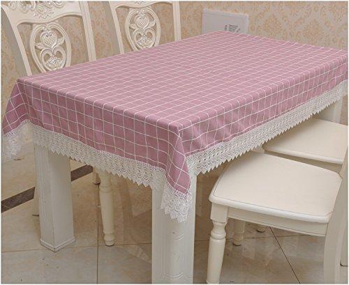 Preisvergleich Produktbild Jhxena Grid Tischtuch Rechteckig Baumwolle Tischdecken, Esszimmer, Rot 140*190 Cm