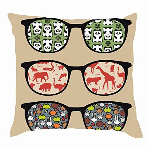 tuyi Retro Sunglasses Reflection it Animals Wildlife Beauty Fashion Throw Pillow Covers Cotton Linen Cushion Cover Cases Pillowcases Sofa Home Decor 18