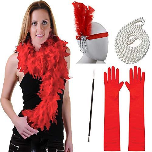 KaiMeiLong:The Great Gatsby Charleston Retro 20er Brüllen 20s Handschuhe Halskette Flapper Haarband Stirnband Damen Kostüm Kopfbedeckung Schal Halskette Perlenkette (Für Erwachsene Fashion Flapper Kostüm Rot)
