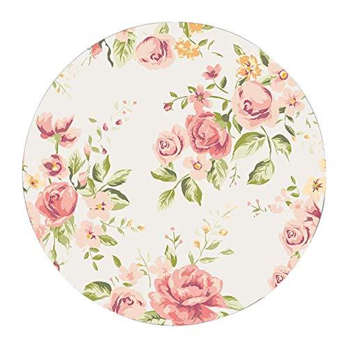 Lumanuby 1x Bunt Blühende Rosen Blume Mauspad Rund mit Rutschfeste Unterseite für Mädchen und Damen Gummi Mausunterlage für optische Maus oder Lasermaus 20x22x0.2cm (A)