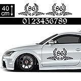1A Style Sticker Startnummer Aufkleber Auto 40cm - Motiv 15, Rennfahne Rennflagge Seitenaufkleber Wunsch-Nummern