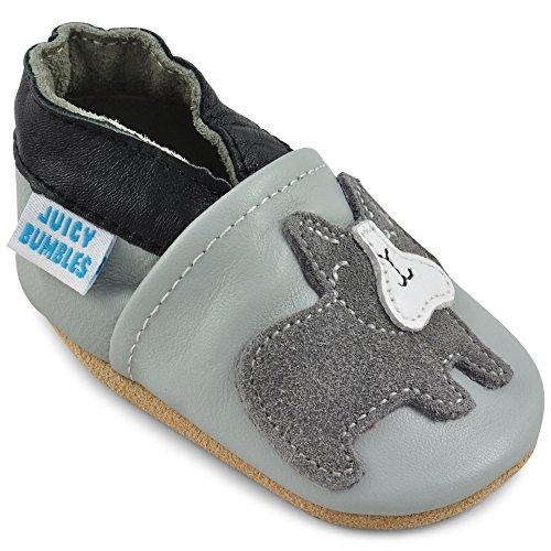 Juicy Bumbles - Weicher Leder Lauflernschuhe Krabbelschuhe Babyhausschuhe mit Wildledersohlen. Junge Mädchen Kleinkind- Gr. 0-6 Monate (Größe 19/20)- Grau Bulldog