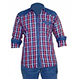 Anry Little Casual Denim Red Checkered Shirts for Boys (11-12 Years)