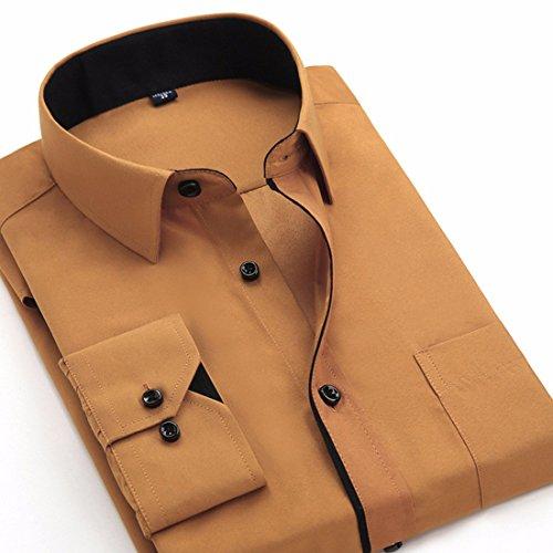 Men's Turn Down Long Sleeve Dress Shirts brown