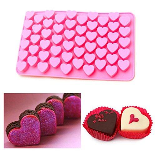 Wawer Lovely 55 Mini-Herz Silikon Pralinen Form Backform Eiswürfel Schokolade Konfekt Trüffel 18,4 x 11 x 1,2 cm (Rosa) (Trüffel-silikon-form)