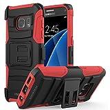 MoKo Galaxy S7 Hülle - [Heavy Duty Serie] Outdoor Dual Layer Armor Case Handy Schutzhülle Schale mit Gürtelclip und Standfunktion für Samsung Galaxy S7 5.1 Zoll 2016 Touch Display Smartphone, Rot