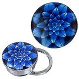 Schraub Plug Tunnel silbern Edelstahl Blume mehrlagig blau Acryl Piercing 20 mm