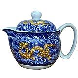 Chinesische/japanische Art-Porzellan-Teekanne Weinlese-Drache-keramische Teekannen mit Infuser-Körben blau
