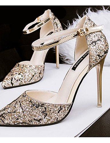 WSS 2016 Chaussures Femme-Décontracté-Noir / Violet / Argent / Or-Talon Aiguille-Talons-Talons-Synthétique golden-us7.5 / eu38 / uk5.5 / cn38