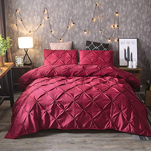 BYEON Einzigartiges Pinch Pleat Pintuck Duvet Cover Set, Soft Luxurious 3-Piece 100% Brushed Microfiber mit strukturierten Pintuck-PPleats und Eck-Ties-Red,Red,Twinxl