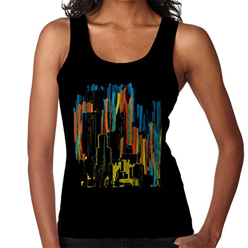 Stripy City Graphic Women's Vest Black