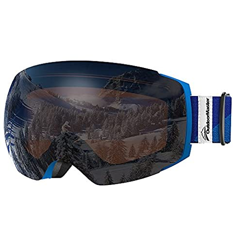 OutdoorMaster Ski Goggles PRO - Frameless, Interchangeable Lens Snow Goggles for Men & Women - 100% UV Protection ( Blue Frame VLT 23.5% Orange Len with REVO Silver and Free Protective Case )