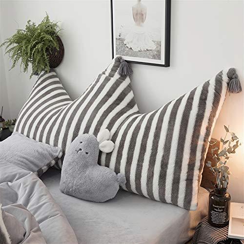 Liveinu Krone Fleece Kopfteil Kissen mit Pompons Bett Rückenkissen Rückenlehne Palettensofa Kissen Für Bett Sofa Couch Waschbar Dekorationskissen Streifen Grau 80x180cm - Streifen-bett, Kissen