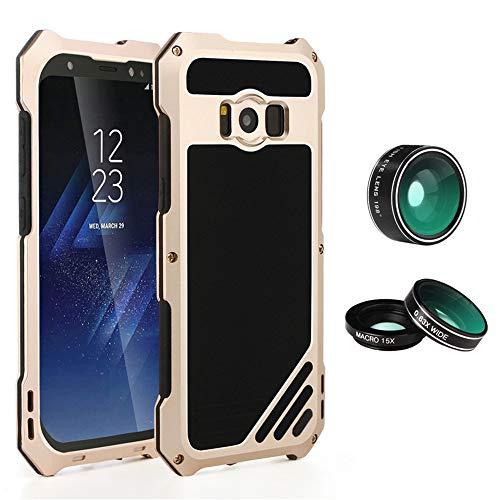 S8 Kit Wasserdichte Handyhülle mit 3 Kamera Objektiv,ultradünne Aluminiumlegierung Makro Fischauge Weitwinkel Linse Spritzwasserfest Stoßfest Outdoor Case ,Gold,SamsungGalaxyS8 ()
