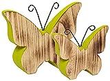 Heitmann Deco - Schmetterlinge aus Holz - grün bemalt - schöne Dekofiguren für Frühlingsdeko und Ostern - Deko-Set
