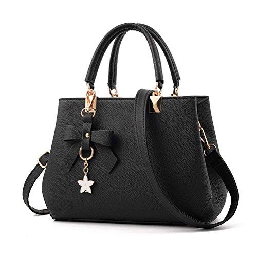 flintronic Damen Handtasche, Tragetaschen Neu Fashion Klassische Handtaschen für Frauen Stilvolle PU Leder Schulterbeutel Taschen Umhängetasche(#1 schwarz) -