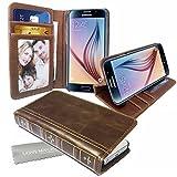 Stylebitz / Étui vintage, classique, rétro, en cuir PU avec pied de support pour Samsung Galaxy S6 avec chiffon de nettoyage Stylebitz (marron)