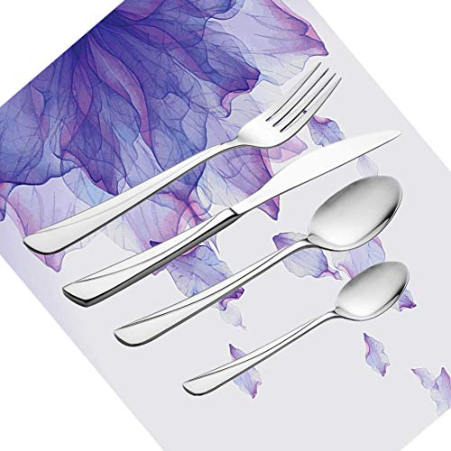 et, Blumengeschirr, Edelstahl-Besteckset für 6 Personen, einschließlich Messer, Gabeln, Löffel, Teelöffel und Tischset, modernes futuristisches Bild mit abstraktem Thema ()