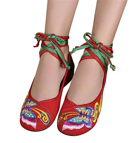 SMITHROAD Damen/Mädchen Mary Jane Halbschuhe mit Stickmuster mit Bindeband Low Top Sandalen Schwarz Rot Grün Gr.34-41 Schmetterling02 Muster-Rot&Grün