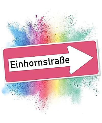 Einhhorn Schild - Einhornstraße, Süße Wand-Deko, Türschild für Mädels-Wohnung und