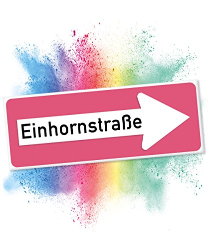 Preisvergleich Produktbild Einhhorn Schild - Einhornstraße PLAIN (40 x 15cm) | Süße Wand-Deko, Türschild für Mädels-Wohnung & Mädchen-Zimmer | Geschenkidee Einweihungsparty & Geburtstags-Geschenk | Lustige Überraschung - beste Freundin