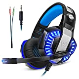 Cuffie Gaming per PS4 Xbox one Gamer da Gioco PC Auricolari con Microfono Over Ear Stereo con Cavo da Gioco Gaming Headset Mac LED Mic Telefono Portatile 3,5 mm Controllo Volume (Adattatore Incluso)
