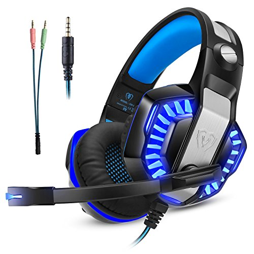 Cascos Auriculares Gaming Gamer PS4 Xbox one PC Diadema Cerrados Micrófono LED...