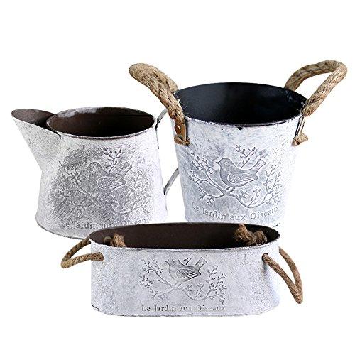 Sue Supply Maceta de hierro de metal con asas de cuerda de cáñamo pa
