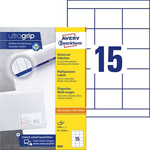 Avery Zweckform 3669 Adressaufkleber (mit ultragrip, 70 x 50,8 mm auf DIN A4, Papier matt, bedruckbare, selbstklebende Adressetiketten, 1.500 Klebeetiketten auf 100 Blatt) weiß