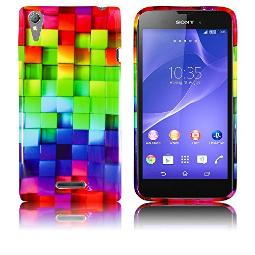 Sony Xperia Style T3 Silikon Schutz-Hülle Buntes Muster weiche Tasche Cover Case Bumper Etui Flip smartphone handy backcover thematys®