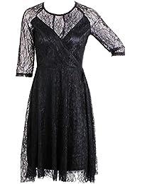 Haroty Mujer Elegantes Cuello Redondo Vestido de Encaje Negro Fiesta Vestir