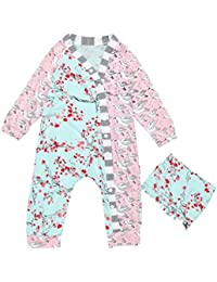SMARTLADY Bebé Niñas Pijama Floral y pájaro patrón y Sombrero Ropa Peleles de Manga Larga