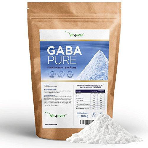 Gaba 300 Pure, 300g reines Pulver ohne Zusatzstoffe, 100% Gamma-Aminobuttersäure, 100 Portionen, Premium Qualität Vit4ever (Gamma-aminobuttersäure Schlafen)