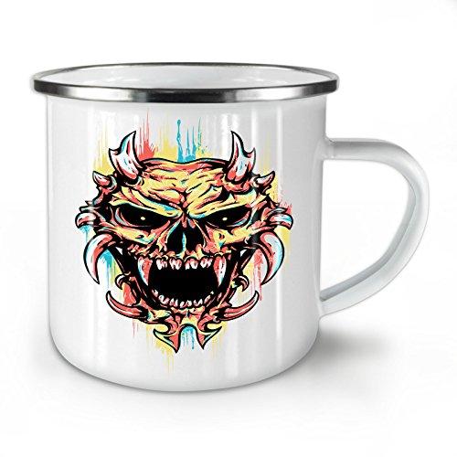 Wellcoda Satan Teufel Unheimlich Schädel Emaille-Becher, Dämon - 10 Unzen-Tasse - Kräftiger, griffiger Griff, Zweiseitiger Druck, Ideal für Camping und Outdoor