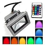 Lychee LED RGB 10W Wasserdicht Farbwechsel Fluter Flutlicht Flutlichtstrahler Strahler Außen Außenstrahler Scheinwerfer Gartenstrahler mit Fernbedienung