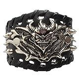 Ultra Hell demonio de cuero gótico Steampunk estilo pulsera brazaletes de pulsera de la muñeca gótica gótico emo Cyber vintage estilo moteros Rock adultos adolescentes