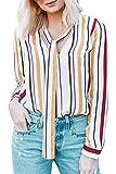 KISSMODA Damen Long Sleeves V-Ausschnitt geknöpft Manschetten Shirt Tagesoberteile gelb S