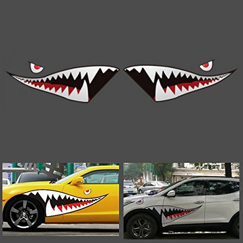 150-cmx50-cm-Shark-Month-Teeth-Vinyl-Aufkleber-Auto-Body-Exterior-Scratch-Cover-Decal-Waterproof