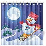 K.e.n Pupazzo di Neve Cartoon Pupazzo di Neve su Skateboard Tenda da Doccia Impermeabile per Bagno, Ganci per Tende da Doccia Inclusi