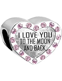 uniqueen nuevo I Love You To The Moon And Back piedra corazón charms bead Venta Fit Pandora pulsera baratos