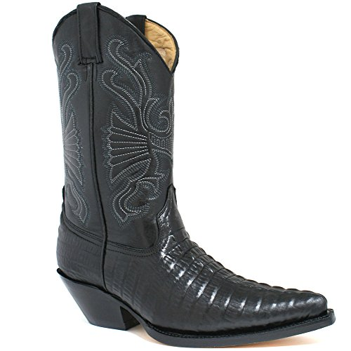 Grinders Carolina Negro Croc estilo de cuero botas de vaquero de la cola de inicio (EU 46 / UK 12)