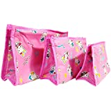 Atorakushon Set Of 3 Pink Cosmetic Makeup Toiletry Jewellery Vanity Box Wardrobe Organiser/Regular Foldable Attractive...
