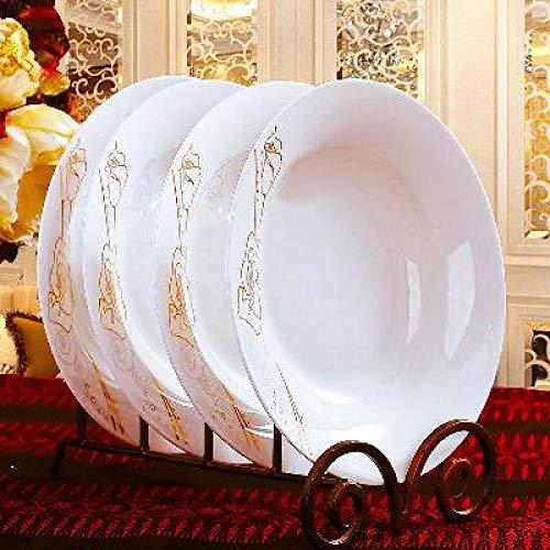 6 Pack Plate (LZK 6Er Pack Kombination Bone Porzellan Teller Besteck Kreative Runde Einfache Keramik Hause Set Dish Plate Dish Plate,Gold,Zoll)