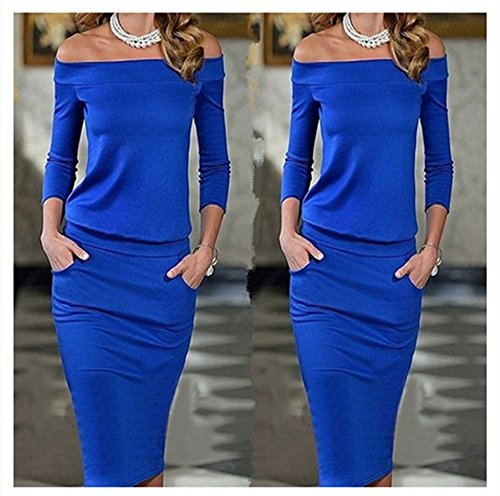 mini abito vestito elegante tubino da donna scollo barchetta cerimonia  festa -Blue-S 0cc0c54f1dd