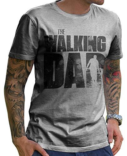 Stylotex Lustiges Herren Männer T-Shirt Basic   The Walking Dad   Geschenk für werdende Papas, Größe:L, Farbe:Heather (4100) - Männer Thermische Shirt